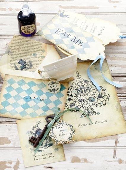 Alice In Wonderland Wedding invitations.