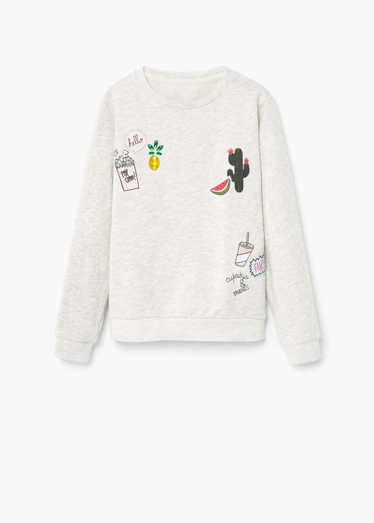Embroidered cotton sweatshirt | MANGO KIDS