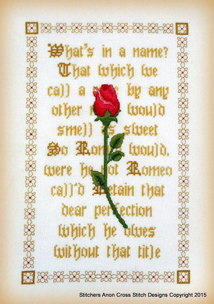 ON SALE A Rose By Any Other Name PDF Cross Stitch Chart by StitchersAnon on Etsy