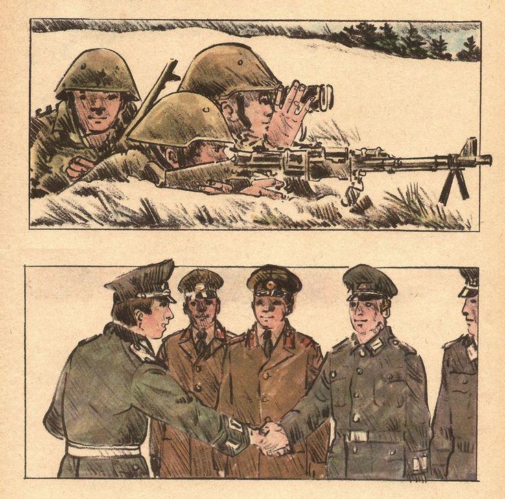"Schoolbook illustration by Werner Klemke. Source: ""Unsere Fibel"" 1974, 8th Edition 1981, Volk und Wissen Verlag; Tags: #Werner #Klemke #GDR #DDR #Schoolbook #Schulbuch #Fibel #Kinder #Child #Illustration #NVA #FDJ"