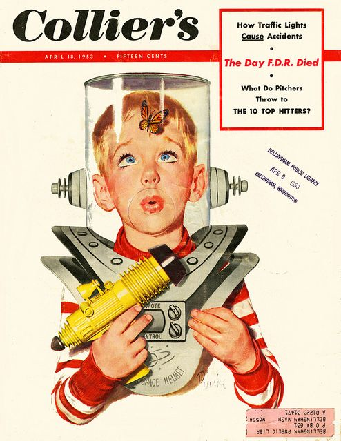 Junior Space Ranger - 1953 Colliers Magazine Cover ( retro futurism / space age / atomic age / ray gun / space suit )