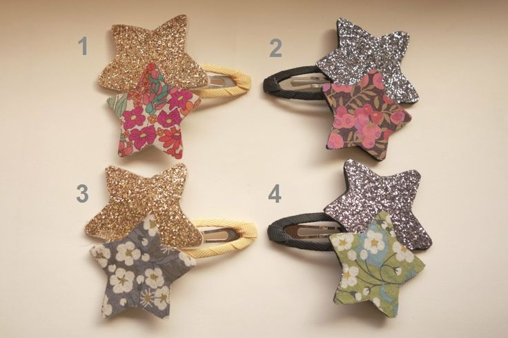 Star Hair Snap Clip with Liberty of london & Glitter by NABISTYLE, $7.00
