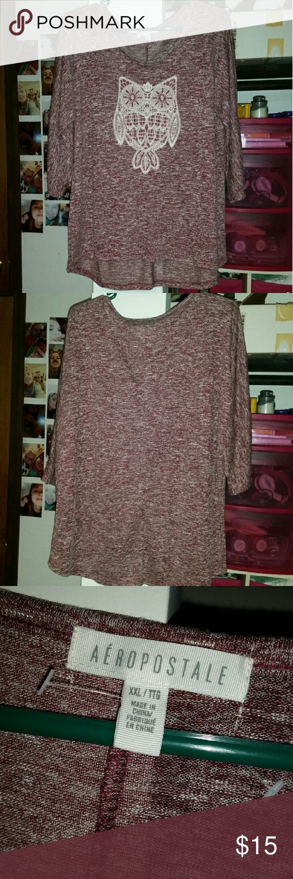 beautiful owl shirt. Only worn once, just not my style. has nothing wrong with it. super cute. very soft. Aeropostale Tops