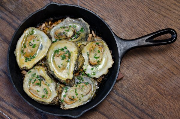 Smoked Oysters, Lemon Garlic Butter, Murray River Salt, and Chives
