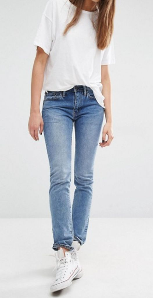 The latest thing? Straight leg jeans. Yes, that's right ladies, put those skinny jeans away and embrace the straight leg for the better