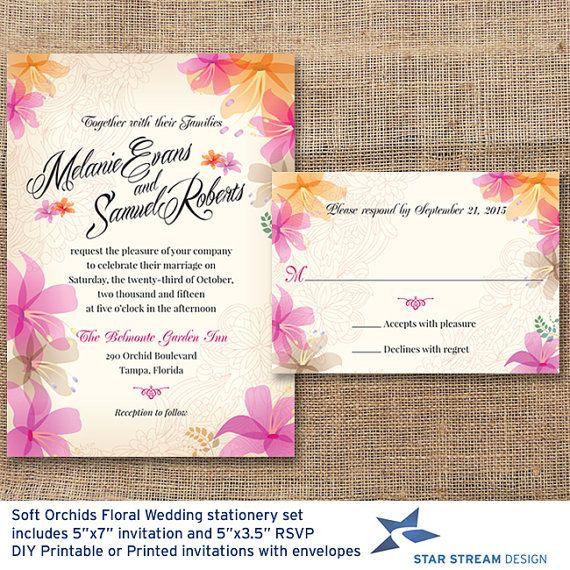 Soft #Orchids Floral #Wedding #Invitation and Reply Card by Star Stream Design, $28.00 #weddinginvitation