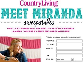 Miranda Lambert Country Living Sweepstakes