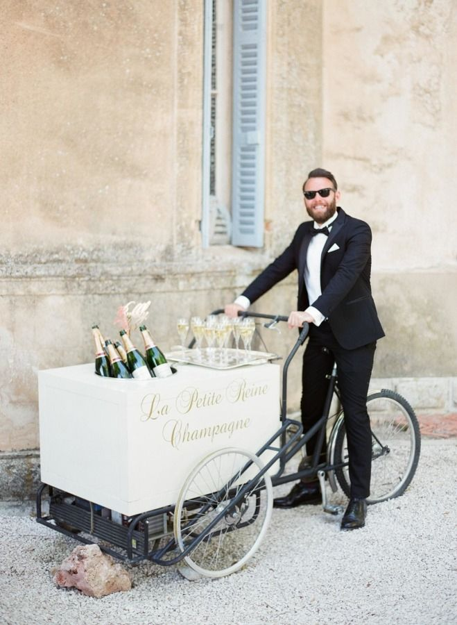 Champagne wedding cart! http://www.stylemepretty.com/little-black-book-blog/2016/10/17/green-salmon-glamorous-destination-provence-wedding/ Photography: Greg Finck - http://www.gregfinck.com/