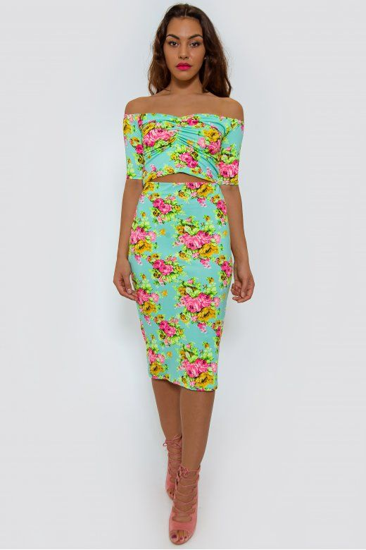 Flower Trip Green Bardot Co-Ord