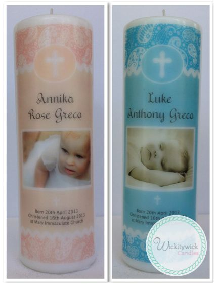 Paisley Photo Personalised Candles by Wickitywick Candles #Baptism Candle #Christening Candle #Naming Day Candle www.wickitywickcandles.com.au
