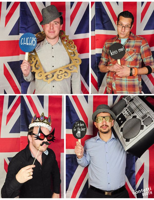#photobooth backdrop idea : british (or any country's flag) for a birthday or team party  The Confetti Booth | Mikes 40th British Birthday Photo Booth | Boulder, CO