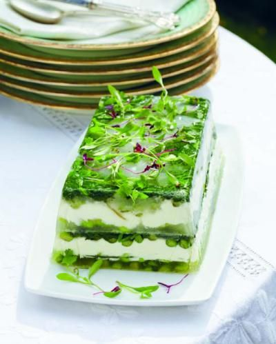 Summer Terrine Drizzled with Mint Oil   http://www.projectfoodie.com/cookbook-recipes/recipe/summer-terrine-drizzled-with-mint-oil.html