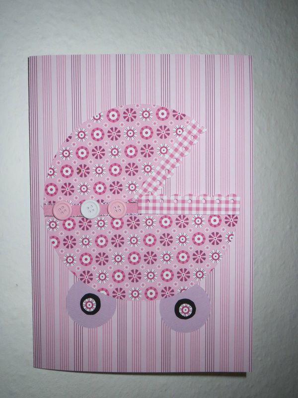 Carte félicitation naissance - landau (rose)