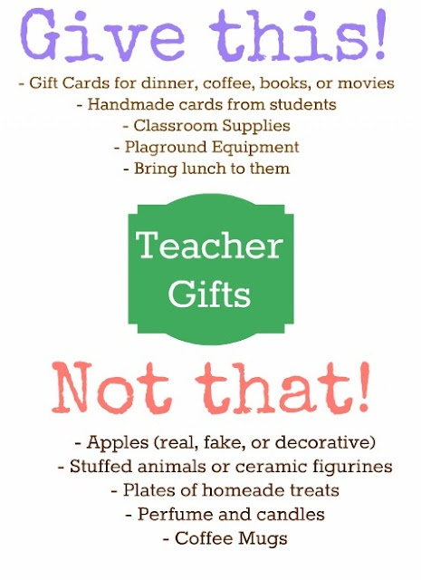 Real teacher weigh in on what they'd really like to receive!  Teachers - what would you add?