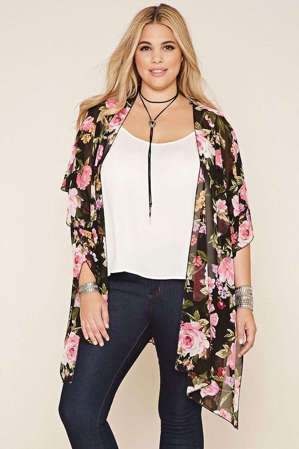 Plus Size Floral Cardigan