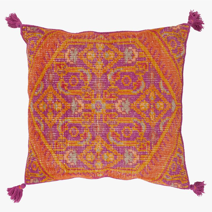 This boho Orange Medallion Wool Floor Pillow is inspired by Asian rug designs. Perfect for kids rooms, a home theater, or wherever you need casual seating.