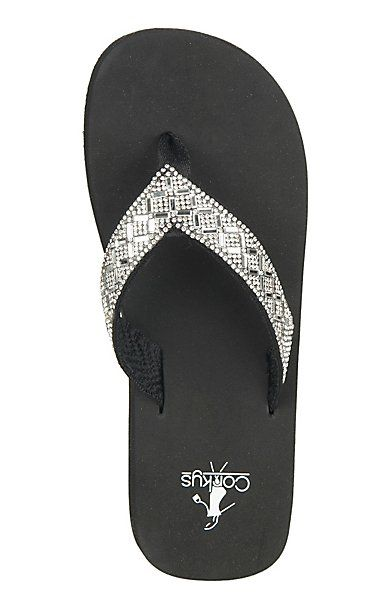 Corky's Women's Black with Clear Jewels Bling Flip Flops | Cavender's