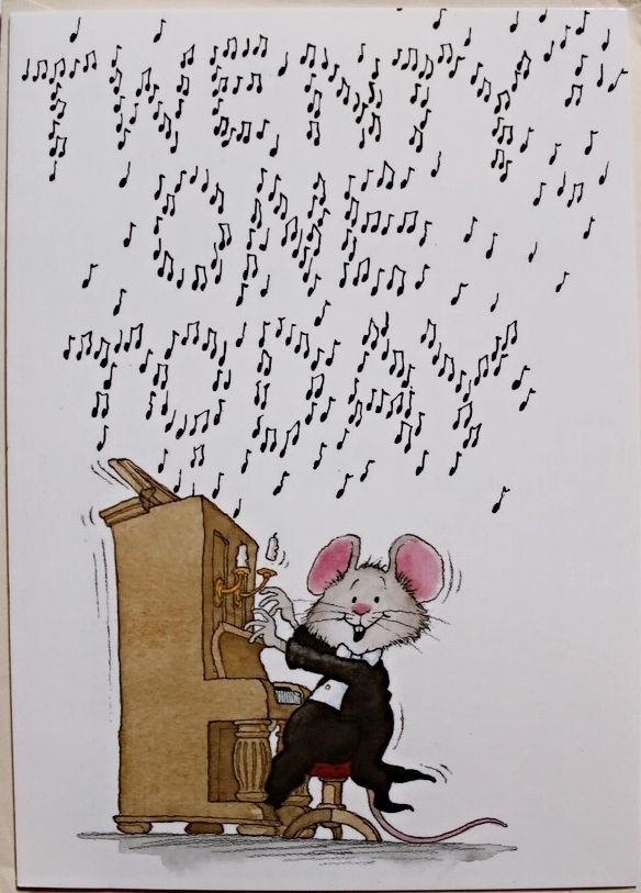 21 today Birthday card & envelope, male or female, Music notes, piano brand…