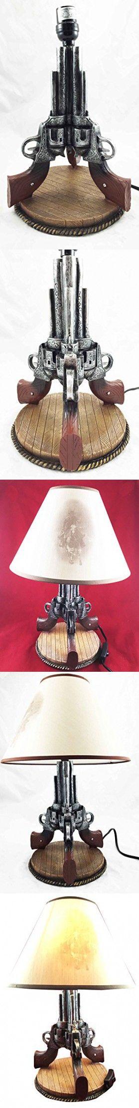 "Triple Beretta Gun Six Shooters 19""H Desktop Table Lamp Cowboy Western Home Decor"
