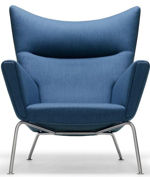 Hans Wegner Blue CH 445 Wing Chair
