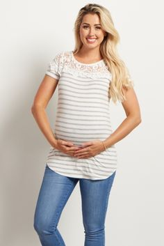 All your favorite feminine details are now available in this one maternity top. A striped print and a lace neckline detail together create a casually chic piece you can look and feel great in. Style this top with shorts and sandals and you're ready for the warm weather ahead.