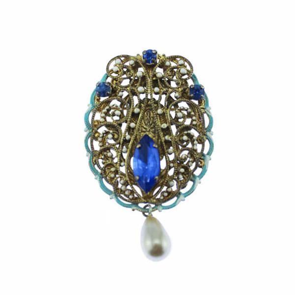 Art Nouveau Enamel and Blue Rhinestone Brooch