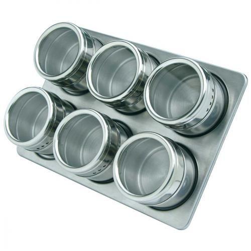 Sel et Poivre / Condiment 6 Pots à Epices Magnétiques avec Support Mural 6 Pots à Epices Magnétiques avec Support Mural