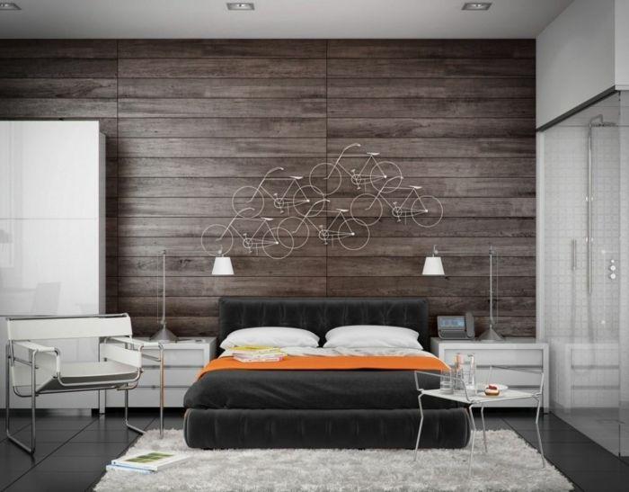 Superb wandpaneele holz schlafzimmer wanddeko wei er kleiderschrank