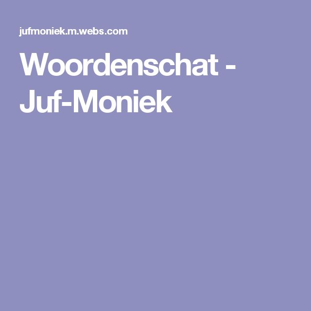 Woordenschat - Juf-Moniek