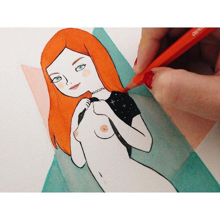 Dibujando a Amarna Miller (detalle). Esta mujer me fascina. #illustration…
