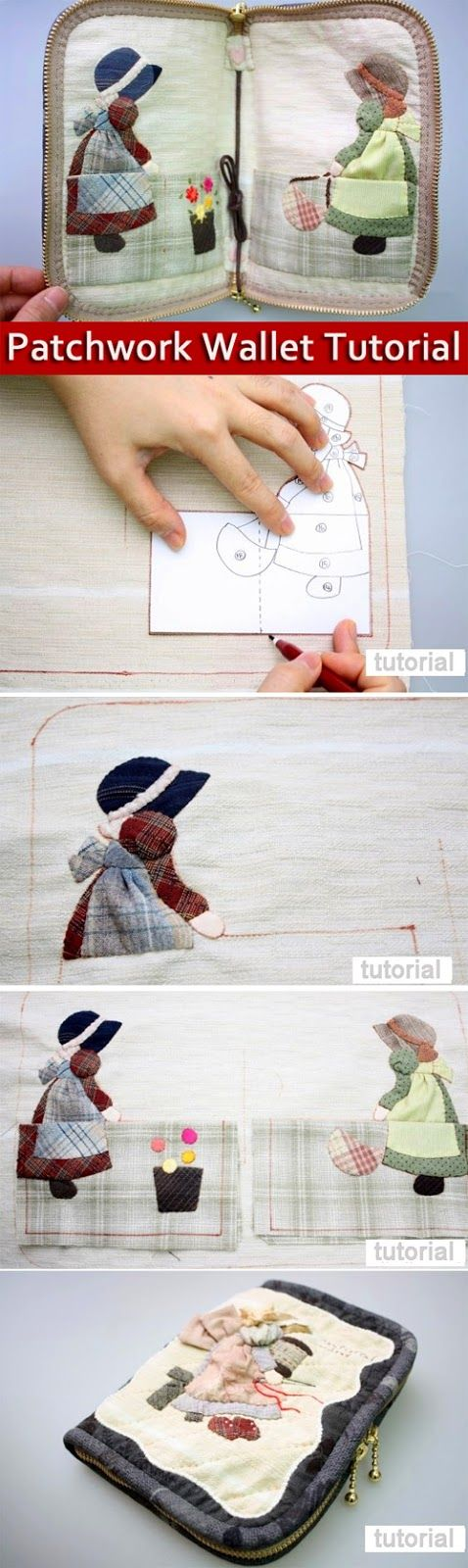 Zipper Wallet. DIY Photo Tutorial and Pattern. Patchwork and Quilted Sewing Projects.  http://www.handmadiya.com/2016/01/zipper-wallet-patchwork-sewing-projects.html