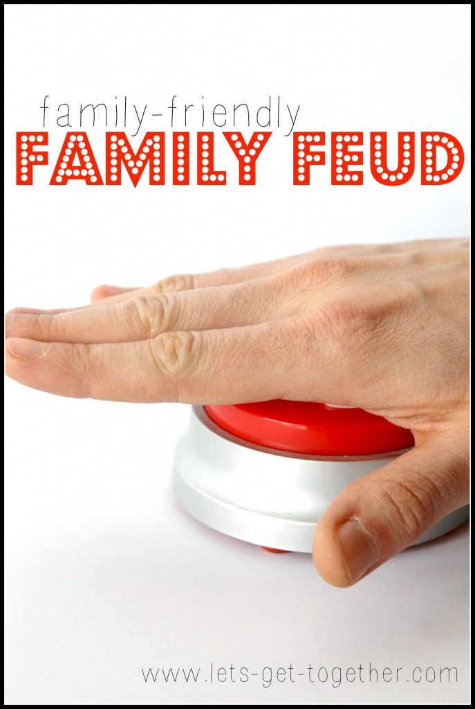 Family-Friendly (G-rated!) Family Feud - readyt-to-print question lists for a DIY gameshow! #familyfeud #familyfun #gameshow
