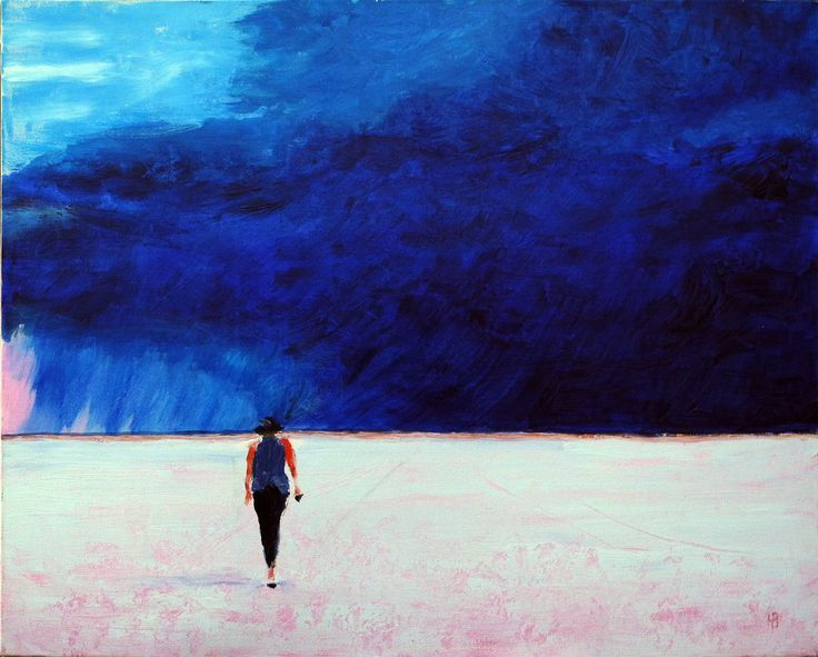 Another stunning landscape by Mervyn Beamish - a storm brews over Lake Eyre in South Australia - these are the real colours of the Aussie landscape. See more of Mervyns stunning work at  http://www.artinvesta.com/artist/152 - register today it's free - and make an 'offer' on Mervyn's art...