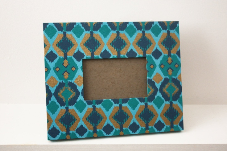 Blue, Green & Gold Ikat 4x6 Picture Frame