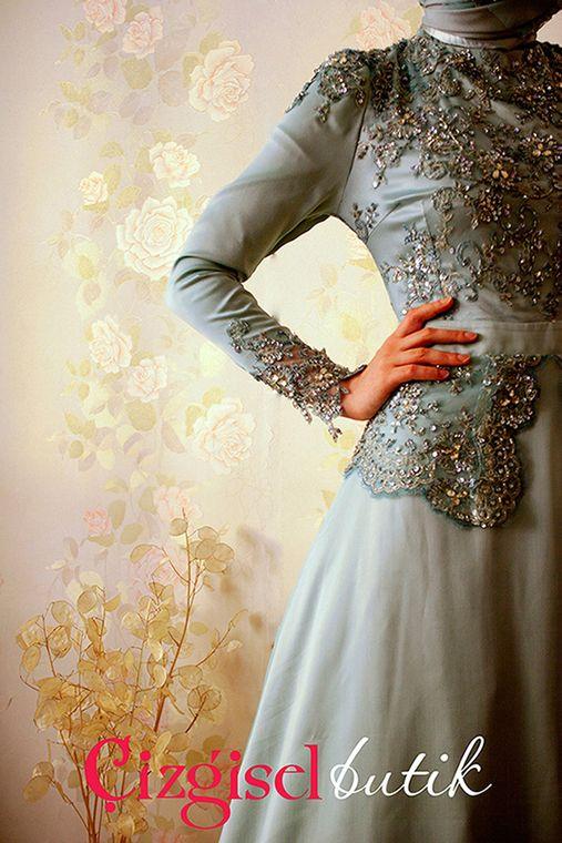 Çizgisel Butik Abiye Mavi Elbise