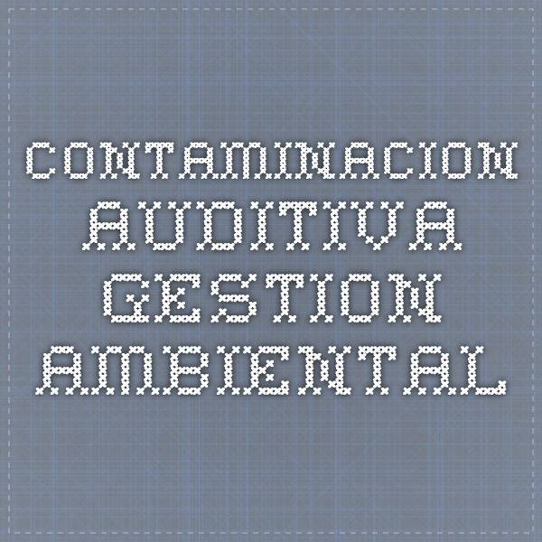 Contaminacion Auditiva - gestion ambiental