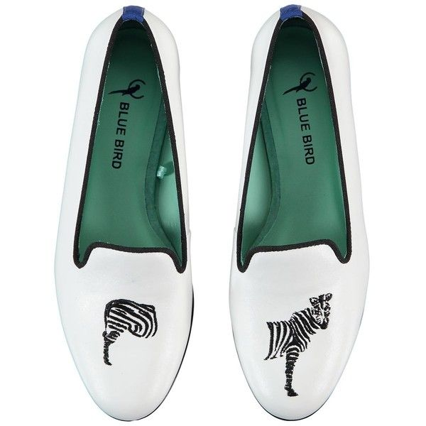 BLUE BIRD Miss Zebra Leather Loafers found on Polyvore