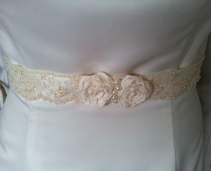 Ivory rose bridal belt handmade by Beautiful Unique