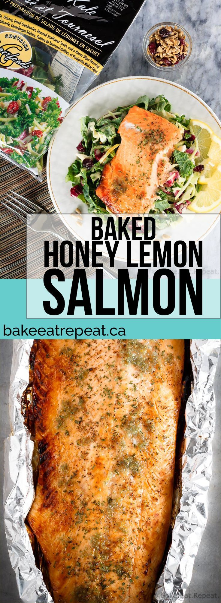 This honey lemon baked salmon with a sunflower kale salad is quick and easy to make and you will love it! A 30 minute meal you'll make again and again! [sponsored]