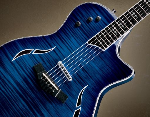 Taylor T5 C1 Hybrid Electric Acoustic Guitar With Blue Edgeburst Finish Beautiful