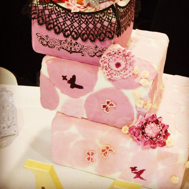 #unique #pink #wedding cake! Heaps of personality & matched perfectly with the days 'flowers & butterflies' theme!