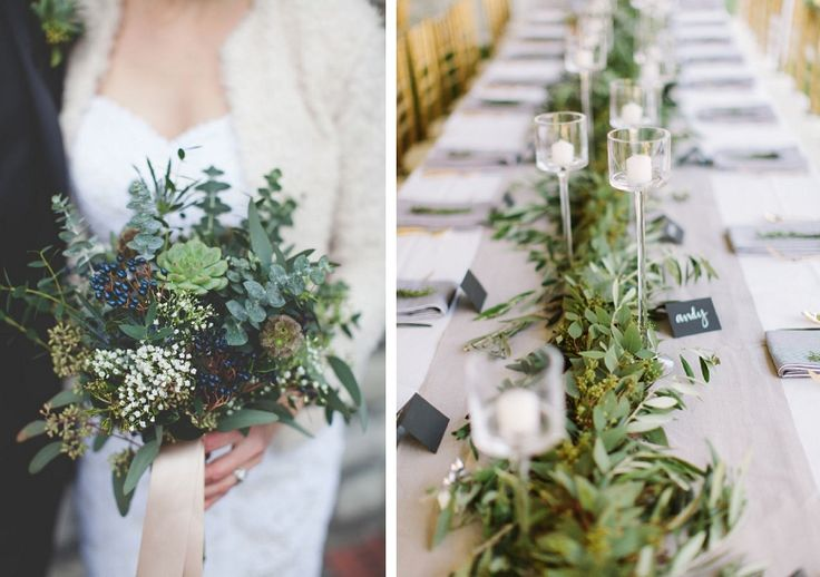 I love the garland down the center of the table with candles. I think the garland would look even better with bright flowers stuck randomly inside the garland.