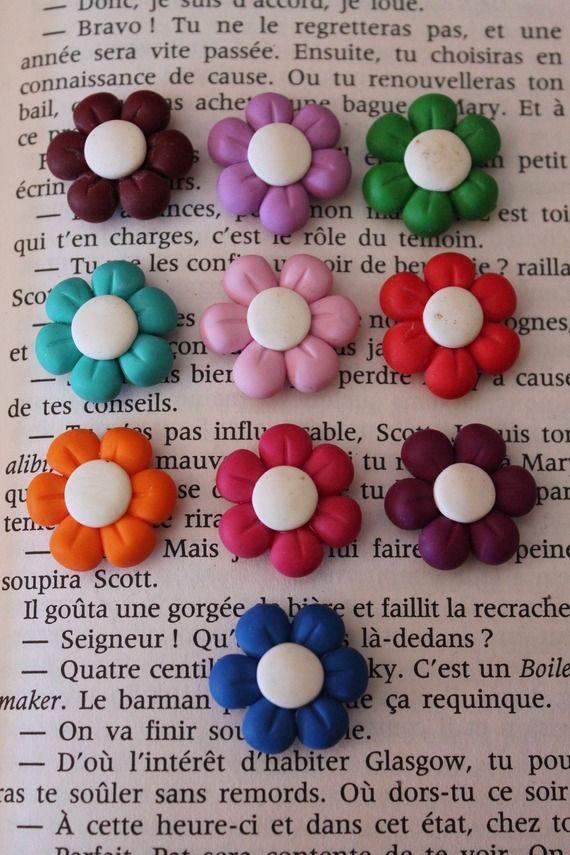 Lot de 10 aimants magnets en pâte polymère Fimo fleurs