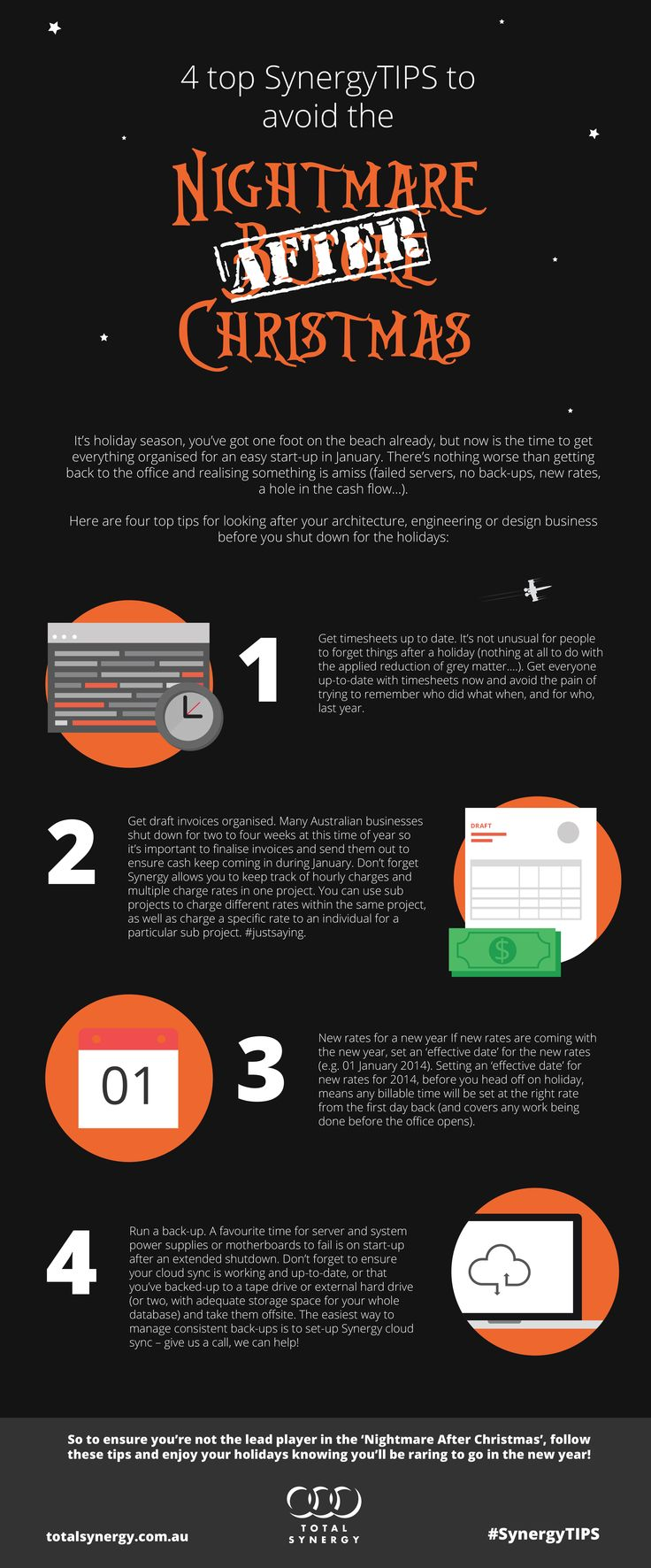 Cool rework of some blog content by my colleague @amaria1989 @totalsynergy  4 top SynergyTIPS to avoid the nightmare after Christmas - this graphic dates back to  our #SynergyTips in mid December 2013.