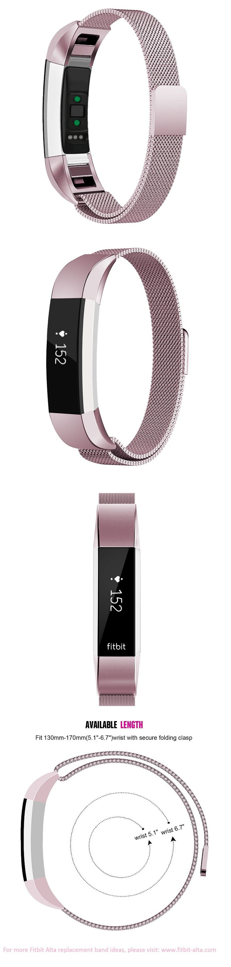 Oitom Fitbit Alta HR Accessory Bands and Fitbit Alta Metal Bands - Sakura Pink
