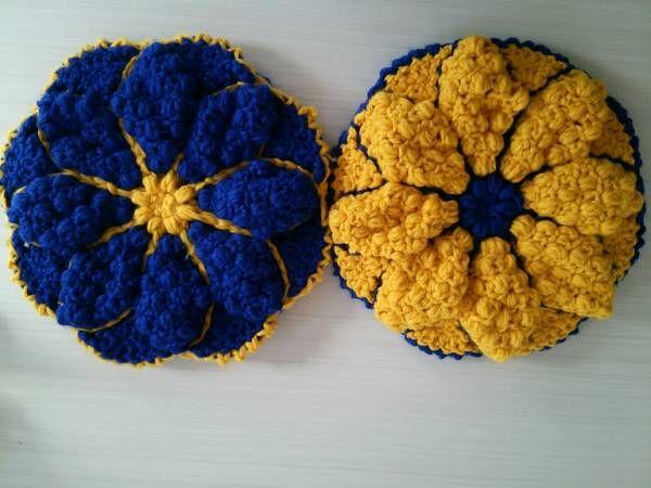 ☆お花の円座☆ イス用座布団 鍵編み 2枚セット _画像1
