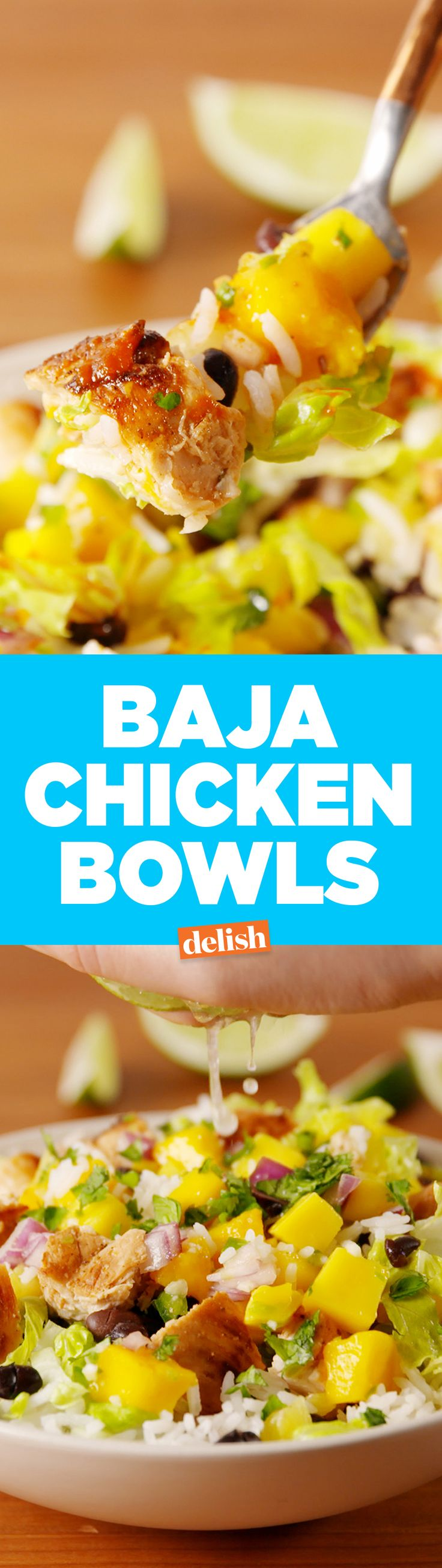 These healthy Baja Chicken Bowls taste like the tropical vacation you've been dreaming of. Get the recipe on Delish.com.