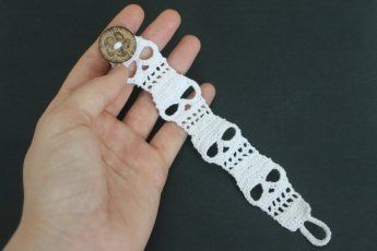 Skull Cuff Bracelet free crochet pattern - 10 Free Crochet Skull Patterns - The Lavender Chair