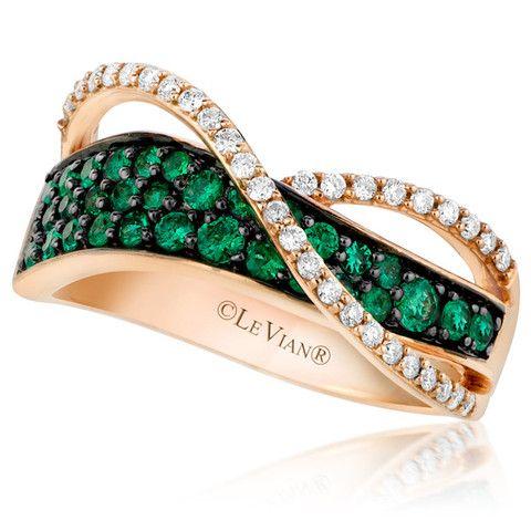 Le Vian® Costa Emerald and Vanilla Diamond® Wave Ring in 14K Strawberry Gold®