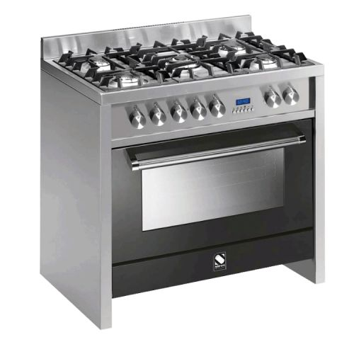 STEEL = Stile in Cucina - PRIMO Range Cookers - Made in Italy.  Primo by Steel - 90cm Multi Function Upright Cooker with 5 Gas Burner Hob. Main Oven: 81lt Gross Capacity (70lt), Stainless Steel Control Panel with Metal Knobs, Dimensions: (W) 899mm x (D) 599mm x (H) 900mm, 3 Years Warranty